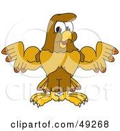 Hawk Mascot Character Flexing