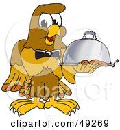 Royalty Free RF Clipart Illustration Of A Hawk Mascot Character Serving A Platter
