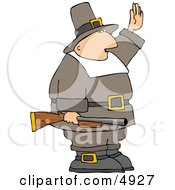 Armed Pilgrim Man Waving His Hand In The Air Clipart