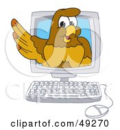 Royalty Free RF Clipart Illustration Of A Hawk Mascot Character In A Computer
