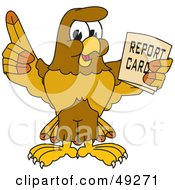 Hawk Mascot Character Holding A Report Card