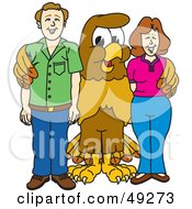 Royalty Free RF Clipart Illustration Of A Hawk Mascot Character With Adults