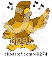 Hawk Mascot Character Singing In Chorus