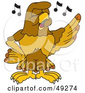 Royalty Free RF Clipart Illustration Of A Hawk Mascot Character Singing In Chorus
