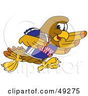 Royalty Free RF Clipart Illustration Of A Hawk Mascot Character Playing Football