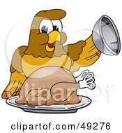 Royalty Free RF Clipart Illustration Of A Hawk Mascot Character Serving A Turkey