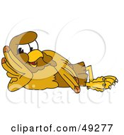 Royalty Free RF Clipart Illustration Of A Hawk Mascot Character Reclined