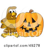 Royalty Free RF Clipart Illustration Of A Hawk Mascot Character With A Pumpkin