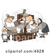 The Pilgrim Pillory Clipart by Dennis Cox