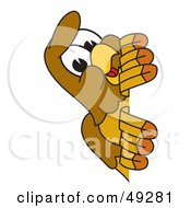 Royalty Free RF Clipart Illustration Of A Hawk Mascot Character Peeking