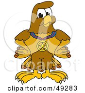 Royalty Free RF Clipart Illustration Of A Hawk Mascot Character Wearing A Medal