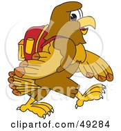 Royalty Free RF Clipart Illustration Of A Hawk Mascot Character Walking To School