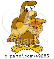 Royalty Free RF Clipart Illustration Of A Hawk Mascot Character Holding A Shark Tooth