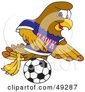 Hawk Mascot Character Playing Soccer