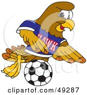 Royalty Free RF Clipart Illustration Of A Hawk Mascot Character Playing Soccer