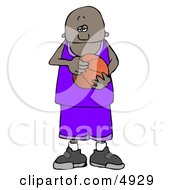 African American Teenage Basketball Player Clipart