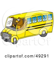 Royalty Free RF Clipart Illustration Of A Hawk Mascot Character Driving A School Bus