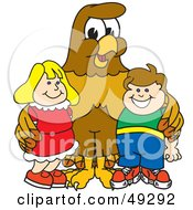 Royalty Free RF Clipart Illustration Of A Hawk Mascot Character With Children