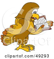 Royalty Free RF Clipart Illustration Of A Hawk Mascot Character Reading