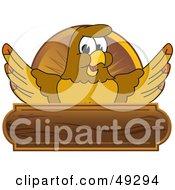 Hawk Mascot Character Wooden Plaque Logo