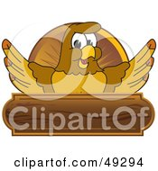 Royalty Free RF Clipart Illustration Of A Hawk Mascot Character Wooden Plaque Logo