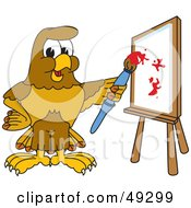 Royalty Free RF Clipart Illustration Of A Hawk Mascot Character Painting