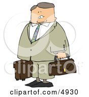 Packed Up Businessman Ready To Travel To New York Clipart