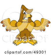 Royalty Free RF Clipart Illustration Of A Hawk Mascot Character Showing Off His Muscles