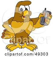 Royalty Free RF Clipart Illustration Of A Hawk Mascot Character Holding A Cell Phone