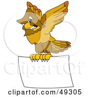 Royalty Free RF Clipart Illustration Of A Hawk Mascot Character Aggressively Flying A Blank Sign