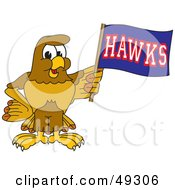 Royalty Free RF Clipart Illustration Of A Hawk Mascot Character Waving A Hawks Flag