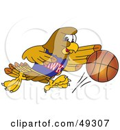 Royalty Free RF Clipart Illustration Of A Hawk Mascot Character Dribbling A Basketball