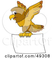 Royalty Free RF Clipart Illustration Of A Hawk Mascot Character With A Blank Sign