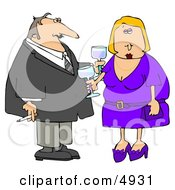 Couple Partying At A Cocktail Party Clipart