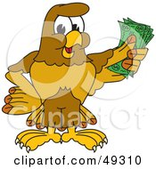 Royalty Free RF Clipart Illustration Of A Hawk Mascot Character Holding Cash