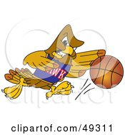 Royalty Free RF Clipart Illustration Of A Hawk Mascot Character In A Basketball Game