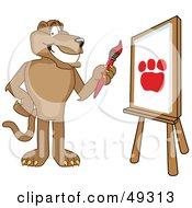Cougar Mascot Character Painting