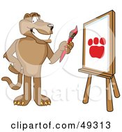 Royalty Free RF Clipart Illustration Of A Cougar Mascot Character Painting