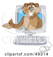Royalty Free RF Clipart Illustration Of A Cougar Mascot Character In A Compuater by Toons4Biz