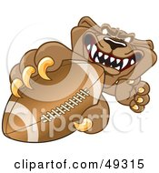 Royalty Free RF Clipart Illustration Of A Cougar Mascot Character Grasping A Football by Toons4Biz