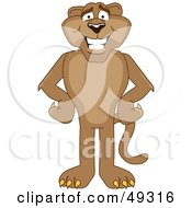 Royalty Free RF Clipart Illustration Of A Cougar Mascot Character With His Hands On His Hips