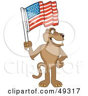 Royalty Free RF Clipart Illustration Of A Cougar Mascot Character Waving An American Flag