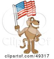 Royalty Free RF Clipart Illustration Of A Cougar Mascot Character Waving An American Flag