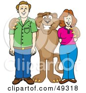 Royalty Free RF Clipart Illustration Of A Cougar Mascot Character With Adults