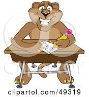 Cougar Mascot Character Taking A Quiz