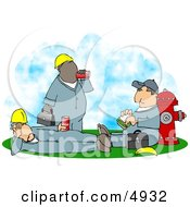 Three Male Workers Taking A Lunch Break Clipart
