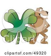 Royalty Free RF Clipart Illustration Of A Cougar Mascot Character With A Clover