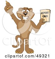 Royalty Free RF Clipart Illustration Of A Cougar Mascot Character Holding A Report Card