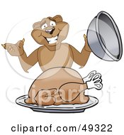 Royalty Free RF Clipart Illustration Of A Cougar Mascot Character Serving A Thanksgiving Turkey by Toons4Biz