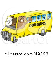 Cougar Mascot Character School Bus Driver